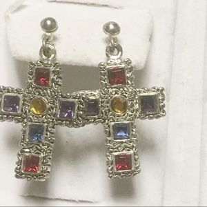 Jewelry - Art Deco Style Colored Crystals Bold Cross Earring